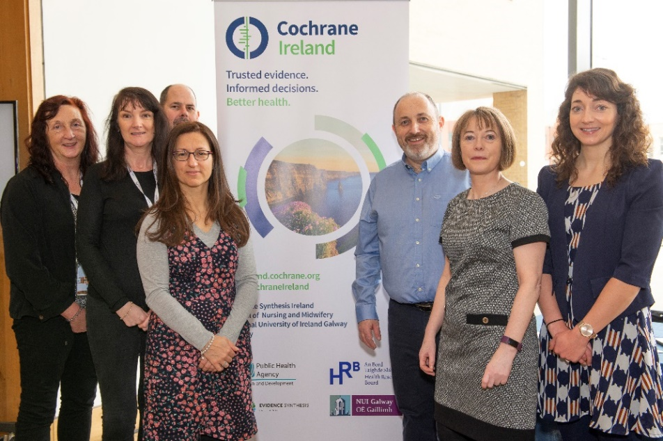 Members of Cochrane Ireland present at the symposium (from L-R: Dr Pauline Meskell, Ms Elaine Finucane, Mr Bernard McCarthy, Dr Linda Biesty, Prof Declan Devane, Dr Patricia Healy, Dr Elaine Toomey)