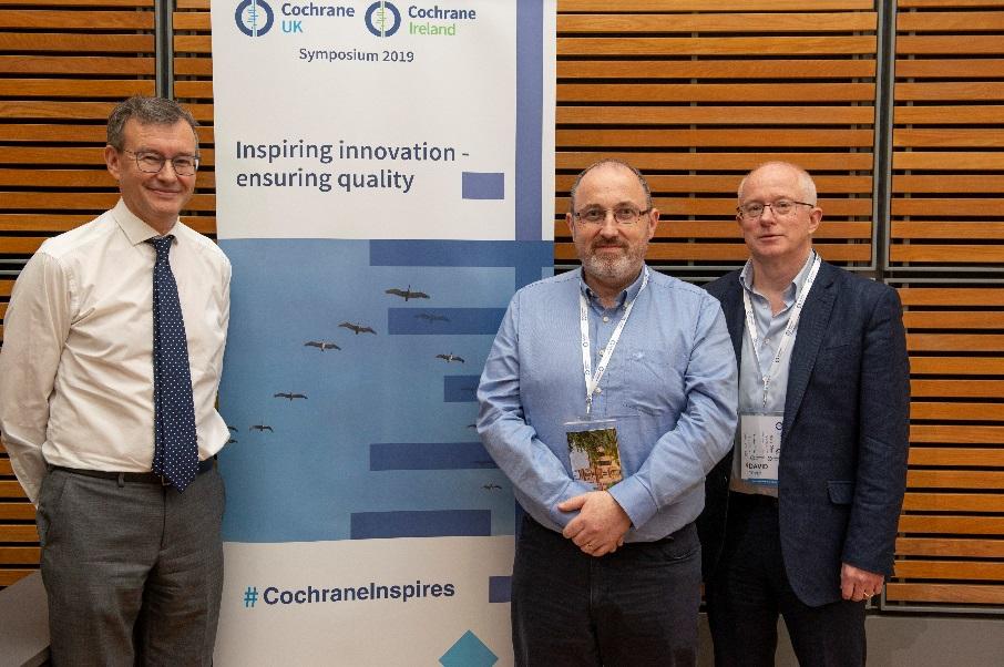 Professor Martin Burton (Cochrane UK) with Professor Declan Devane (Cochrane Ireland) and Dr David Tovey (Editor in Chief, Cochrane)
